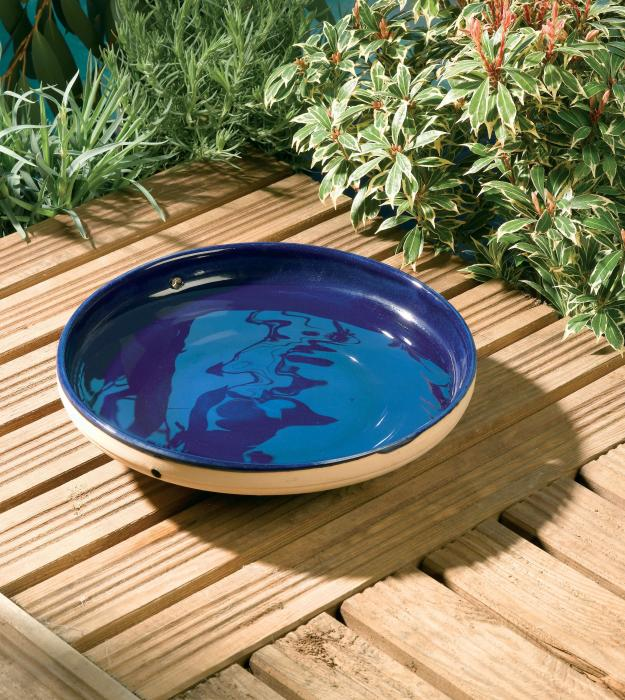 Rainbow-Gardman Mini Glazed Bird Bath Blue