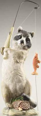 Design Toscano Masked Fisherman Raccoon Statue