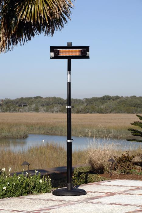 Fire Sense Living 1500 Watt Electric Infrared Telescoping Black Steel Pole-Mounted Patio Heater