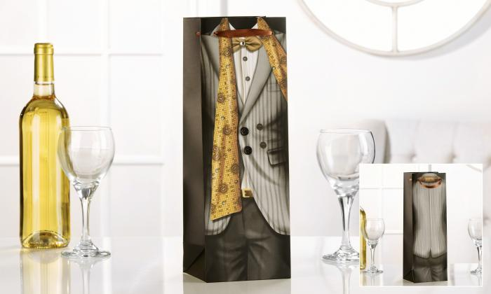 Giftcraft Grey Dinner Jacket Wine Bottle Bag