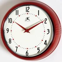 Infinity Retro Round Metal Wall Clock - Red