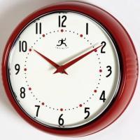 Infinity Retro Round Metal Wall Clock - Red