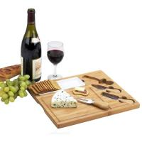 Picnic at Ascot Celtic Bamboo Cheese Board Set with Ceramic Dish and 3 Cheese Tools