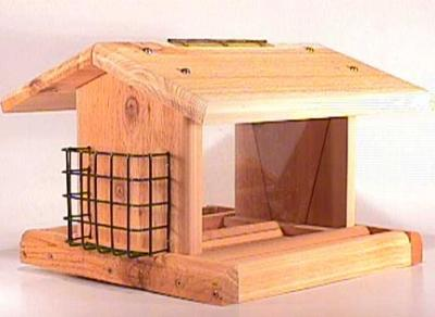 Songbird Cedar Large Plantation Bird Feeder with 2 Suet Baskets