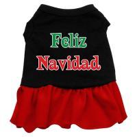 Feliz Navidad Dog Dress - Black with Red/XX Large
