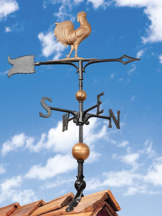 """30"""" Full-Bodied Rooster Weathervane - Copper"""