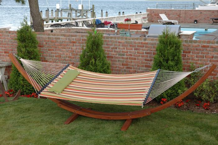 """Bliss Hammocks """"S"""" Stitched Classic Comfort Poly Quilted Hammock - Multi Stripe w/ Green Solid Pillow"""