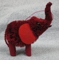 Brushart Elephant Red Ornament