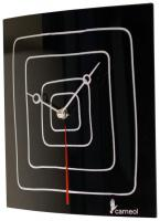 Black Glass Art Clock with White Lines