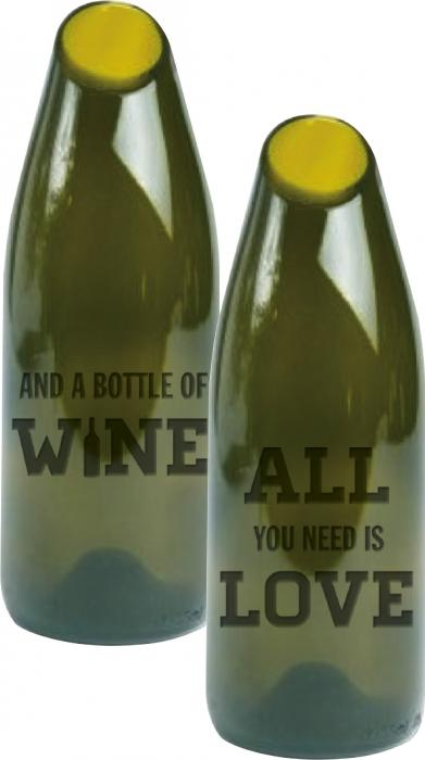 Evergreen Enterprises By the Bottle Large Glass Cork Carafe, All You Need is Love and Wine