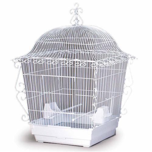 Elegant Scrollwork Bird Cage - White