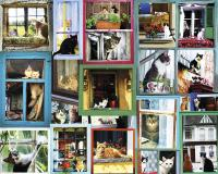 White Mountain Puzzles Window Cats 1000 Piece Puzzle