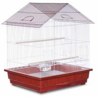 Offset Roof Parakeet Cage - Red
