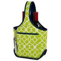 Picnic at Ascot Stylish 2 Bottle Wine Tote with Corkscrew - Trellis Green