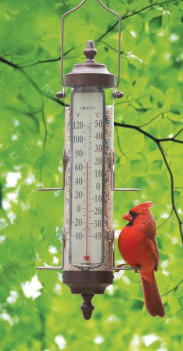 Conant Custom Brass Bird Feeder Thermometer, 1 lb Capacity - Bronze Patina