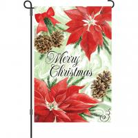 Premier Designs Poinsettia & Pinecones Garden Flag