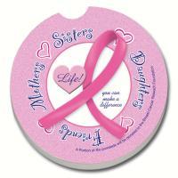Counter Art Pink Ribbon Car Coaster