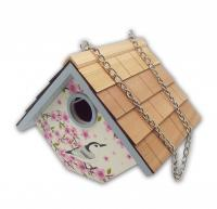 Home Bazaar Wren Cottage Birdhouse: Nuthatch w/ Peach Blossom