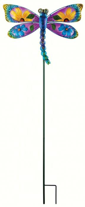Regal Art & Gift Floral Dragonfly Stake, Blue