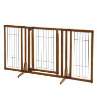 """Richell Premium Plus Freestanding Pet Gate with Door Brown 34 - 63"""" x 26 - 20.5"""" x 32"""""""