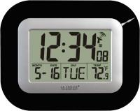 La Crosse Technology Atomic Digital Wall Clock w/ IN Temp & Date - Black