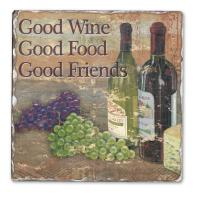 Counter Art Good Wine Good Friends Single Tumbled Tile Coaster
