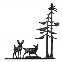 "30"" Deer & Pines Weathervane - Rooftop Black"