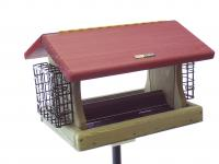 Birds Choice 5 Quart Cedar 2-Sided Hopper Bird Feeder with Suet Cages
