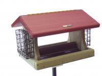 Birds Choice 5 Quart Cedar 2-Sided Hopper Bird Feeder with Suet Cages