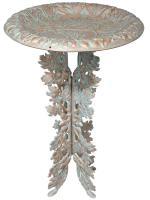 Whitehall Oakleaf Birdbath & Pedestal - Copper Verdi