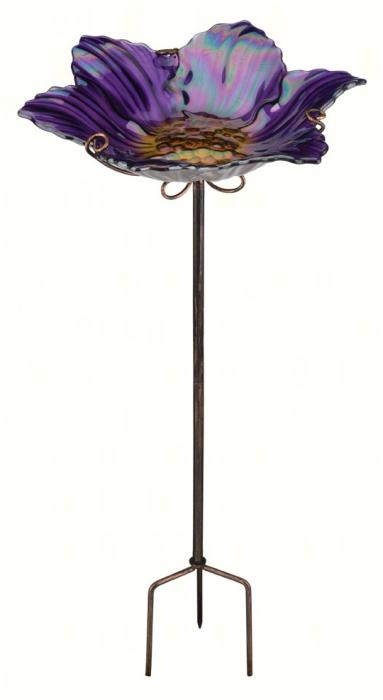 Regal Art & Gift Purple Birdbath / Bird Feeder with Stake