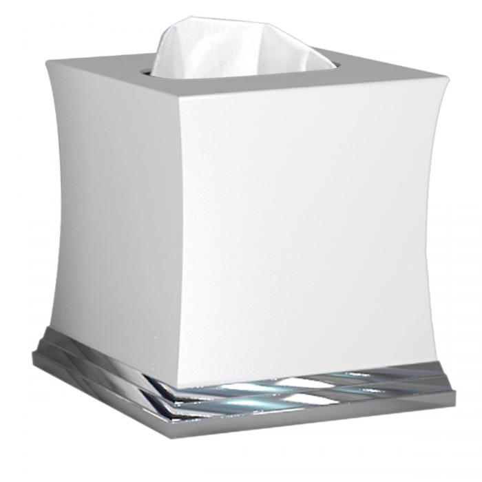 Nu Steel Sag Harbor Boutique Tissue Holder, White Ceramic/Chrome Trim
