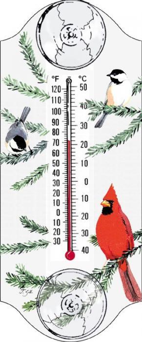 Aspects Cardinal/Chickadee Window Thermometer