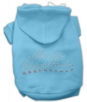 Merry Christmas Rhinestone Dog Hoodie Baby Blue/XXX Large