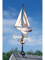 Copper Sailboat Weathervane - Polished