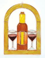 Gift Essentials Small Wine Glasses and Bottle Cathedral Window Panel