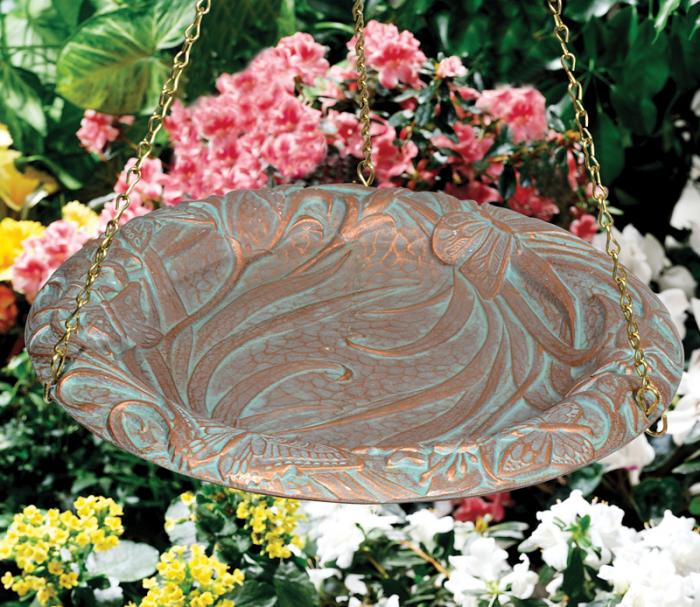 Butterfly Hanging Birdbath - Copper Verdi