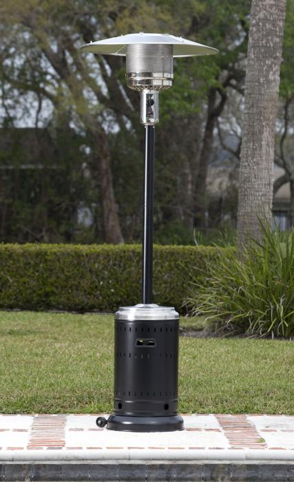 Well Traveled Living 46,000 BTU Commercial Hammer Tone Black and Stainless Steel Patio Heater