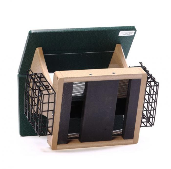 Birds Choice Recycled 4 Quart 2-Sided Bird Feeder with Suet Cages