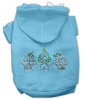 Christmas Cupcakes Rhinestone Dog Hoodie Baby Blue/Medium