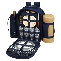 Picnic at Ascot - Deluxe Equipped 4 Person Picnic Backpack with Cooler, Insulated Wine Holder & Blanket - Navy /White