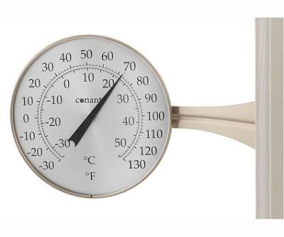 Conant Custom Brass Large Dial Thermometer Satin Nickel Finish