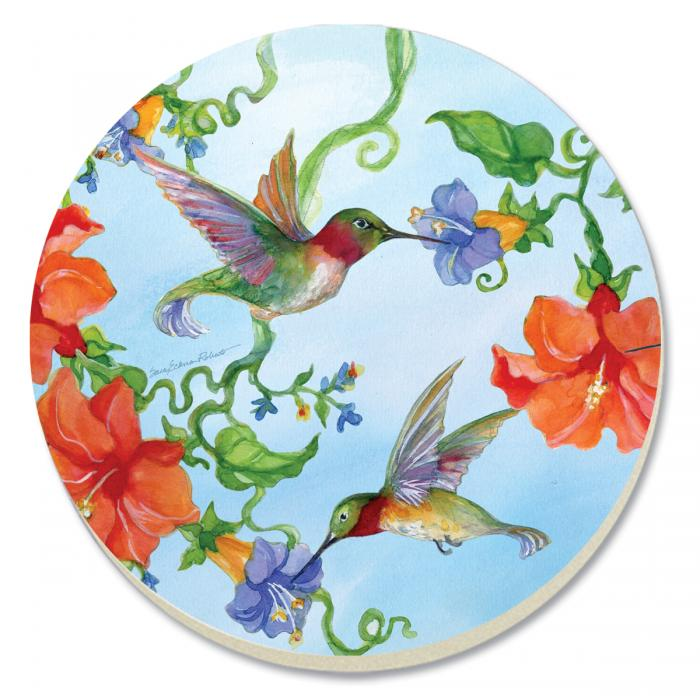 Counter Art Hummingbirds w/Orange Coasters Set of 4