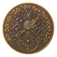 Whitehall Pineapple Thermometer Clock - Antique Copper