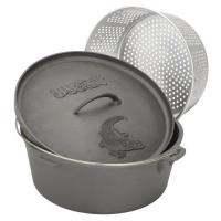 Bayou Classic 20-Quart Cast Iron Dutch Oven with Lid and Perforated Aluminum Basket