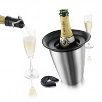 Vacu Vin 3 Piece Champagne Set (Active Champagne Cooler in Stainless Steel, Bottle Opener, Champagne Saver)