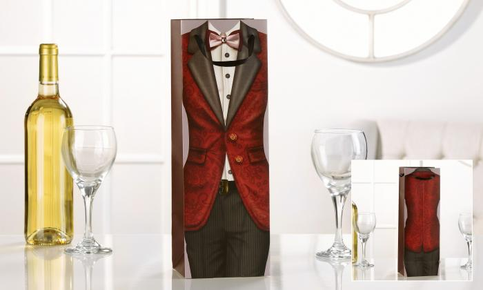 Giftcraft Red Dinner Jacket Design Wine Bottle Bag