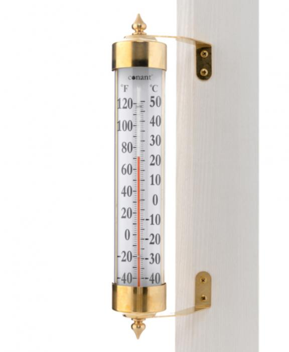 Conant Custom Brass Vermont Grande View Thermometer Living Finish Brass
