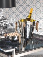 Zodax Barclay Butera Casablanca Colletion Hammered Nickel Ice Bucket with Horn Handles