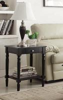Convenience Concepts French Country End Table with Drawer and Shelf (Black)